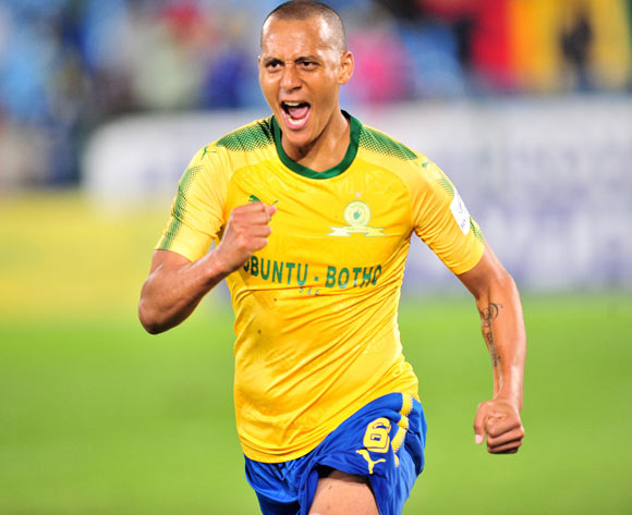Wayne Arendse of Mamelodi Sundowns celebrates goal during the 2018 CAF Confederations Cup match between Mamelodi Sundowns and Rayon Sports at Loftus Versfeld Stadium, Pretoria on 18 March 2018 ©Samuel Shivambu/BackpagePix