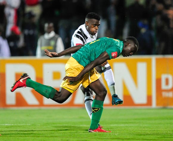 Limbikani Mzava of Lamontville Golden Arrows is to late to prevent Innocent Maela of Orlando Pirates shot at goal during the 2017/18 Absa Premiership football match between Golden Arrows and Orlando Pirates at Princess Magogo Stadium, Durban on 17 March 2018 ©Gerhard Duraan/BackpagePix