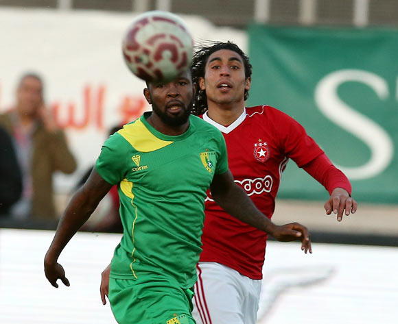 Etoile Sportive du Sahel player Amro Marei Wahba Gad (R) and Plateau United Football Club  player Jimmy Ambrose (L) fight for the ball during the CAF Champions League soccer match between Etoile Sportive du Sahel of Tunisia and Plateau United Football Club  of Nigeria at the Olympique Stadium in Sousse, Tunisia, 06 February 2018. MOHAMED MESSARA © BackpagePix