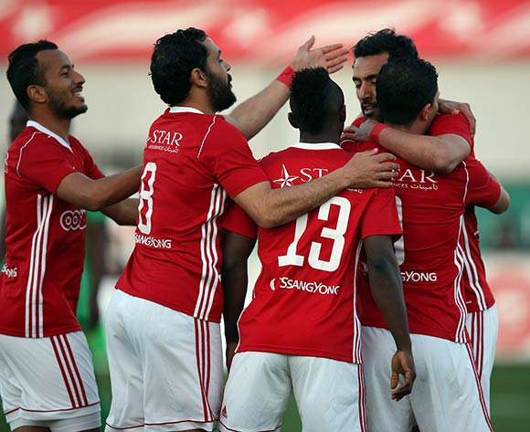 Etoile Sportive du Sahel players  celebrate after scoring a goal during the CAF Champions League soccer match between Etoile Sportive du Sahel of Tunisia and Plateau United Football Club  of Nigeria at the Olympique Stadium in Sousse, Tunisia, 06 February 2018. MOHAMED MESSARA © BackpagePix