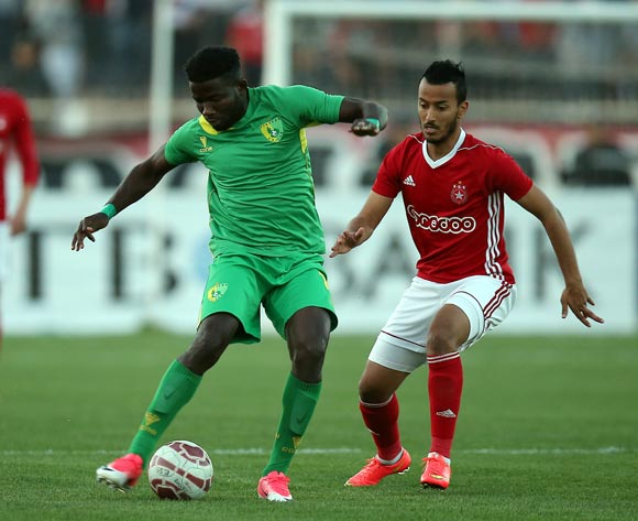 Etoile Sportive du Sahel player  Hamza Lahmar (R) and Plateau United Football Club  player  Raphael Ayagwa (L) fight for the ball during the CAF Champions League soccer match between Etoile Sportive du Sahel of Tunisia and Plateau United Football Club  of Nigeria at the Olympique Stadium in Sousse, Tunisia, 06 February 2018. MOHAMED MESSARA © BackpagePix