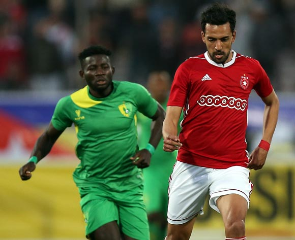 Etoile Sportive du Sahel player Iheb Msakni (R) and Plateau United Football Club  player  Raphael Ayagwa (L) fight for the ball during the CAF Champions League soccer match between Etoile Sportive du Sahel of Tunisia and Plateau United Football Club  of Nigeria at the Olympique Stadium in Sousse, Tunisia, 06 February 2018. MOHAMED MESSARA © BackpagePix