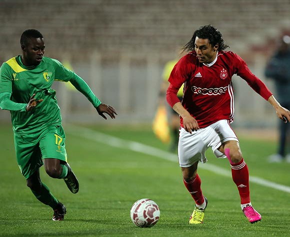 Etoile Sportive du Sahel player  Amro Marei Wahba Gad  (R) and Plateau United Football Club  player  Peter Eneji(L) fight for the ball during the CAF Champions League soccer match between Etoile Sportive du Sahel of Tunisia and Plateau United Football Club  of Nigeria at the Olympique Stadium in Sousse, Tunisia, 06 February 2018. MOHAMED MESSARA © BackpagePix