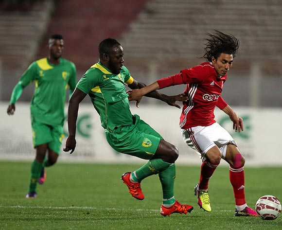 Etoile Sportive du Sahel player  Amro Marei Wahba Gad  (L) and Plateau United Football Club  player  Peter Eneji (L) fight for the ball during the CAF Champions League soccer match between Etoile Sportive du Sahel of Tunisia and Plateau United Football Club  of Nigeria at the Olympique Stadium in Sousse, Tunisia, 06 February 2018. MOHAMED MESSARA © BackpagePix