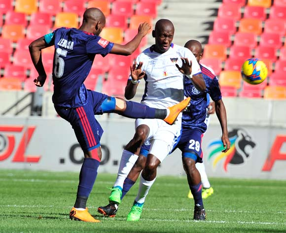 Mosa Lebusa (C) of Ajax Cape Town and Mark Mayambela of Chippa United during the Absa Premiership 2017/18 game between Chippa United and Ajax Cape Town at Nelson Mandela Bay Stadium, Port Elizabeth on 15 April 2018 © Deryck Foster/BackpagePix