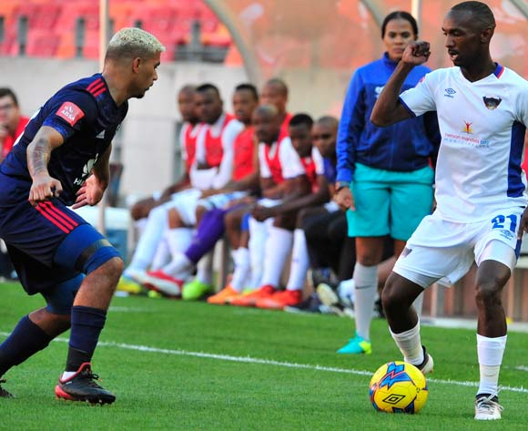 Thabo Rakhale of Chippa United and Toriq Losper of Ajax Cape Town during the Absa Premiership 2017/18 game between Chippa United and Ajax Cape Town at Nelson Mandela Bay Stadium, Port Elizabeth on 15 April 2018 © Deryck Foster/BackpagePix