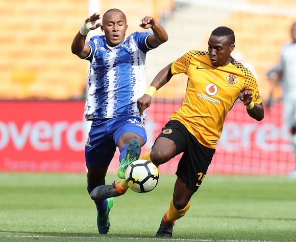 George Maluleka of Kaizer Chiefs challenged by Lebohang Maboe of Maritzburg United during the Absa Premiership 2017/18 match between Kaizer Chiefs and Maritzburg United at FNB Stadium, Johannesburg on 28 April 2018 ©Muzi Ntombela/BackpagePix