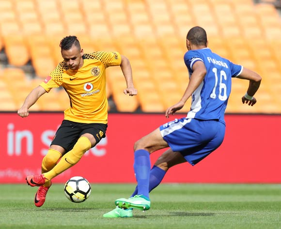 Gustavo Paez of Kaizer Chiefs challenged by Bevan Fransman of Maritzburg United during the Absa Premiership 2017/18 match between Kaizer Chiefs and Maritzburg United at FNB Stadium, Johannesburg on 28 April 2018 ©Muzi Ntombela/BackpagePix