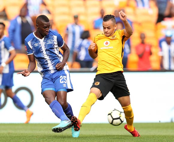 Siyanda Xulu of Maritzburg United challenged by Gustavo Paez of Kaizer Chiefs during the Absa Premiership 2017/18 match between Kaizer Chiefs and Maritzburg United at FNB Stadium, Johannesburg on 28 April 2018 ©Muzi Ntombela/BackpagePix