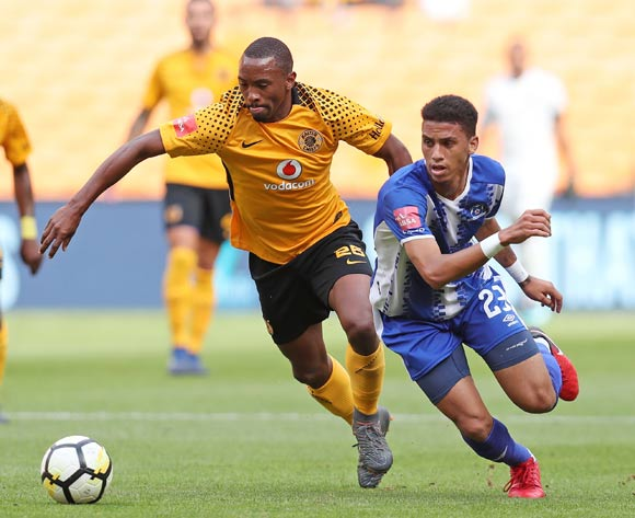 Bernard Parker of Kaizer Chiefs challenged by Rushine De Reuck of Maritzburg United  during the Absa Premiership 2017/18 match between Kaizer Chiefs and Maritzburg United at FNB Stadium, Johannesburg on 28 April 2018 ©Muzi Ntombela/BackpagePix