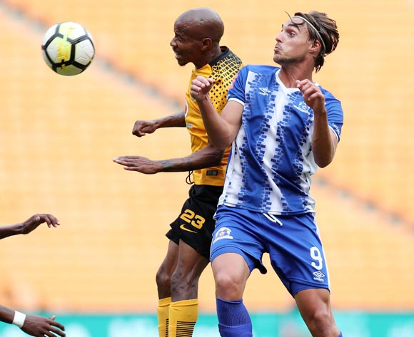 Andrea Fileccia of Maritzburg United challenged by Joseph Molangoane of Kaizer Chiefs  during the Absa Premiership 2017/18 match between Kaizer Chiefs and Maritzburg United at FNB Stadium, Johannesburg on 28 April 2018 ©Muzi Ntombela/BackpagePi
