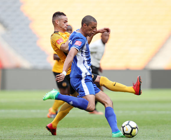 Bevan Fransman of Maritzburg United challenged by Gustavo Paez of Kaizer Chiefs during the Absa Premiership 2017/18 match between Kaizer Chiefs and Maritzburg United at FNB Stadium, Johannesburg on 28 April 2018 ©Muzi Ntombela/BackpagePix