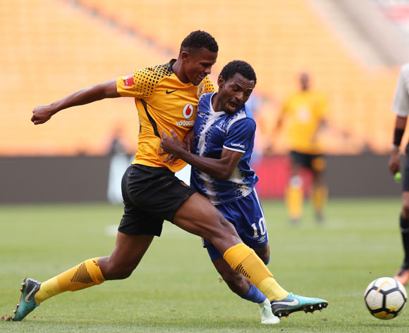 Yazid Atouba of Maritzburg United tackled by Siyabonga Ngezana of Kaizer Chiefs during the Absa Premiership 2017/18 match between Kaizer Chiefs and Maritzburg United at FNB Stadium, Johannesburg on 28 April 2018 ©Muzi Ntombela/BackpagePix