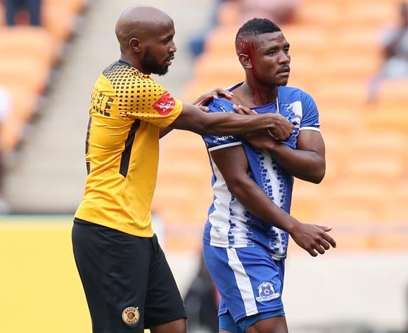 Ramahlwe Mphahlele of Kaizer Chiefs helps bleeding Mohau Mokate of Maritzburg United walk out the pitch during the Absa Premiership 2017/18 match between Kaizer Chiefs and Maritzburg United at FNB Stadium, Johannesburg on 28 April 2018 ©Muzi Ntombela/BackpagePix