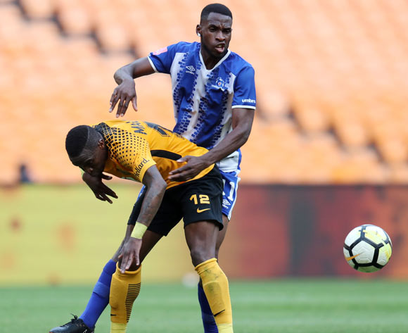 George Maluleka of Kaizer Chiefs challenged by Fortune Makaringe of Maritzburg United during the Absa Premiership 2017/18 match between Kaizer Chiefs and Maritzburg United at FNB Stadium, Johannesburg on 28 April 2018 ©Muzi Ntombela/BackpagePix