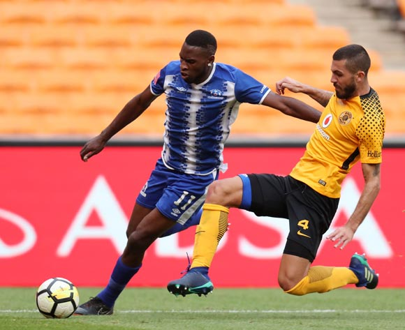 Fortune Makaringe of Maritzburg United tackled by Daniel Cardoso of Kaizer Chiefs during the Absa Premiership 2017/18 match between Kaizer Chiefs and Maritzburg United at FNB Stadium, Johannesburg on 28 April 2018 ©Muzi Ntombela/BackpagePix