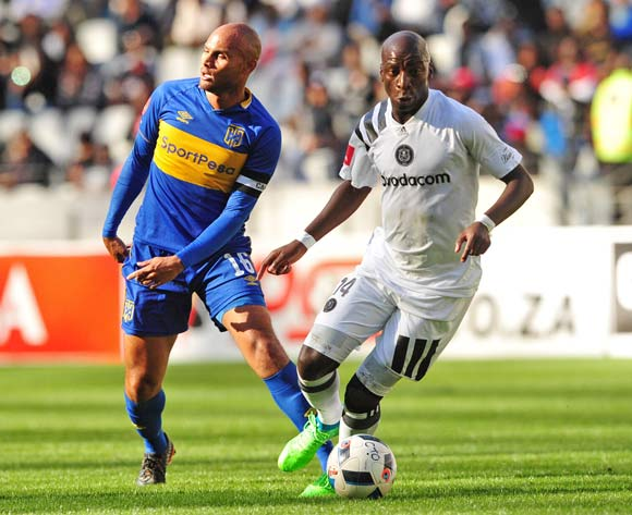 Musa Nyatama of Orlando Pirates turns away from Robyn Johannes of Cape Town City during the Absa Premiership 2017/18 game between Cape Town City and Orlando Pirates at Cape Town Stadium on 28 April 2018 © Ryan Wilkisky/BackpagePix