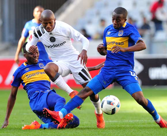 Luvuyo Memela of Orlando Pirates is fouled by Mpho Matsi of Cape Town City as Thabo Nodada of Cape Town City moves in during the Absa Premiership 2017/18 game between Cape Town City and Orlando Pirates at Cape Town Stadium on 28 April 2018 © Ryan Wilkisky/BackpagePix