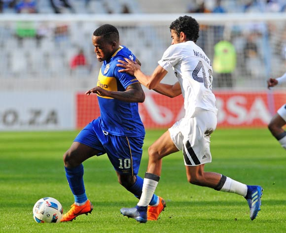 Ayanda Patosi of Cape Town City takes on Abbubaker Mobara of Orlando Pirates during the Absa Premiership 2017/18 game between Cape Town City and Orlando Pirates at Cape Town Stadium on 28 April 2018 © Ryan Wilkisky/BackpagePix