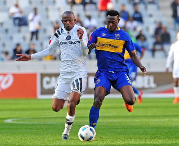 Xola Mlambo of Orlando Pirates and Masud Juma Choka of Cape Town City battle for possession during the Absa Premiership 2017/18 game between Cape Town City and Orlando Pirates at Cape Town Stadium on 28 April 2018 © Ryan Wilkisky/BackpagePix