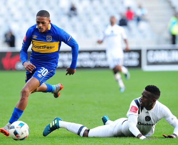 Innocent Maela of Orlando Pirates is fouled by Craig Martin of Cape Town City during the Absa Premiership 2017/18 game between Cape Town City and Orlando Pirates at Cape Town Stadium on 28 April 2018 © Ryan Wilkisky/BackpagePix