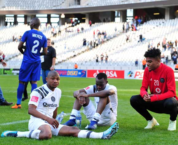 Thabo Qalinge, Justin Shonga and Lyle Foster of Orlando Pirates sit dejected after the Absa Premiership 2017/18 game between Cape Town City and Orlando Pirates at Cape Town Stadium on 28 April 2018 © Ryan Wilkisky/BackpagePix