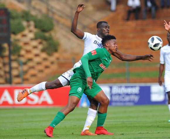 Mhlengi Cele of AmaZulu is challenged by  Edwin Gyimah of Bidvest Wits during the Absa Premiership match between Bidvest Wits and AmaZulu  28 April  2018 at Bidvest Stadium  Pic Sydney Mahlangu/BackpagePix