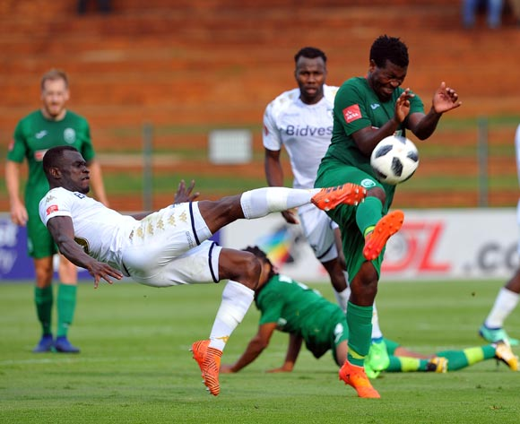 Mabhuti Khenyeza of AmaZulu tackles Edwin Gyimah of Bidvest Wits during the Absa Premiership match between Bidvest Wits and AmaZulu  28 April  2018 at Bidvest Stadium  Pic Sydney Mahlangu/BackpagePix