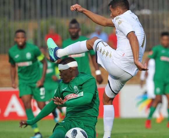 Thembela Sikhakhane of AmaZulu challenges Daine Klate of Bidvest Wits during the Absa Premiership match between Bidvest Wits and AmaZulu  28 April  2018 at Bidvest Stadium  Pic Sydney Mahlangu/BackpagePix