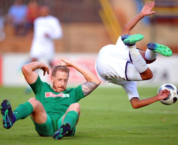 Daine Klate of Bidvest Wits is tackled by Michael Morton of AmaZulu during the Absa Premiership match between Bidvest Wits and AmaZulu  28 April  2018 at Bidvest Stadium  Pic Sydney Mahlangu/BackpagePix