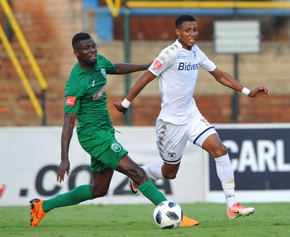Sedate Ouro - Akoriko of AmaZulu challenges Vincent Pule of Bidvest Wits during the Absa Premiership match between Bidvest Wits and AmaZulu  28 April  2018 at Bidvest Stadium  Pic Sydney Mahlangu/BackpagePix