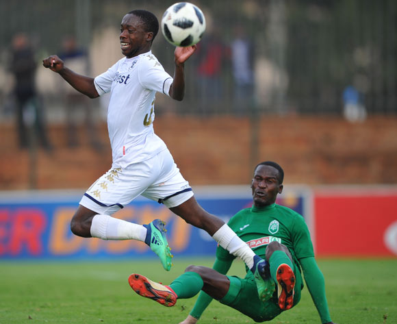 Ben Motshwari of Bidvest Wits is tackled by Tapelo Nyongo of AmaZulu  during the Absa Premiership match between Bidvest Wits and AmaZulu  28 April  2018 at Bidvest Stadium  Pic Sydney Mahlangu/BackpagePix