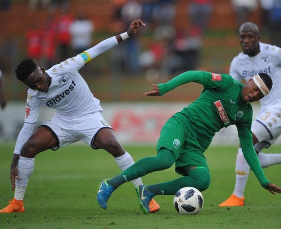 Thabang Monare of Bidvest Wits challenges Thembela Sikhakhane of AmaZulu during the Absa Premiership match between Bidvest Wits and AmaZulu  28 April  2018 at Bidvest Stadium  Pic Sydney Mahlangu/BackpagePix