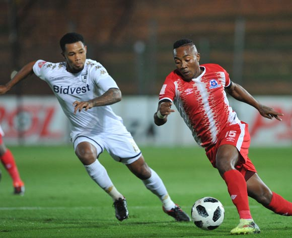 Granwald Scott of Bidvest Wits challenges Lebohang Maboe of Maritzburg United during the Absa Premiership match between Bidvest Wits and Maritzburg United on 03 April  2018 at Bidvest Stadium Pic Sydney Mahlangu/BackpagePix