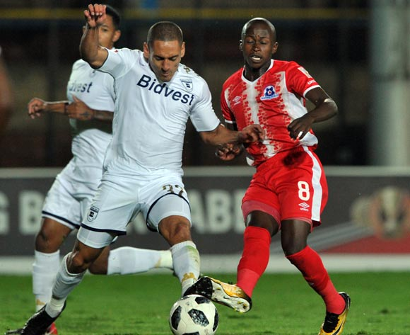 Cole Alexander of Bidvest Wits challenges Siphesihle Ndlovu of Maritzburg United during the Absa Premiership match between Bidvest Wits and Maritzburg United on 03 April  2018 at Bidvest Stadium Pic Sydney Mahlangu/BackpagePix