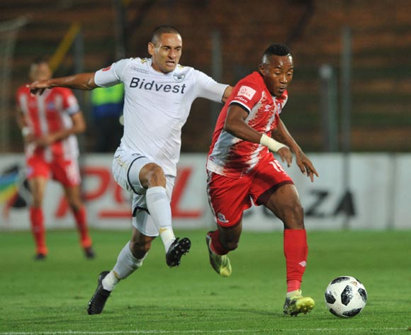 Cole Alexander of Bidvest Wits challenges Lebohang Maboe of Maritzburg United during the Absa Premiership match between Bidvest Wits and Maritzburg United on 03 April  2018 at Bidvest Stadium Pic Sydney Mahlangu/BackpagePix