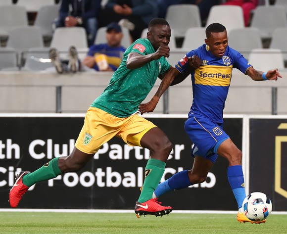 Surprise Ralani of Cape Town City challenged by Limbikani Mzava of Golden Arrows during the Absa Premiership 2017/18 football match between Cape Town City FC and Golden Arrows at Cape Town Stadium, Cape Town on 4 April 2018 ©Chris Ricco/BackpagePix