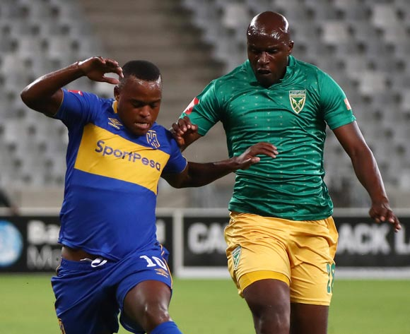 Ayanda Patosi of Cape Town City evades challenge from Musa Bilankulu of Golden Arrows during the Absa Premiership 2017/18 football match between Cape Town City FC and Golden Arrows at Cape Town Stadium, Cape Town on 4 April 2018 ©Chris Ricco/BackpagePix