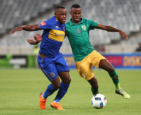 Ayanda Patosi of Cape Town City challenged by Jabulani Shongwe of Golden Arrows during the Absa Premiership 2017/18 football match between Cape Town City FC and Golden Arrows at Cape Town Stadium, Cape Town on 4 April 2018 ©Chris Ricco/BackpagePix