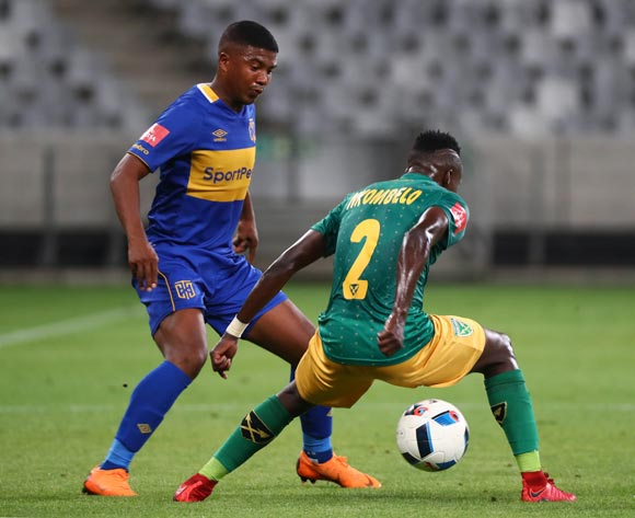 Lyle Lakay of Cape Town City challenged by Zolani Nkombelo of Golden Arrows during the Absa Premiership 2017/18 football match between Cape Town City FC and Golden Arrows at Cape Town Stadium, Cape Town on 4 April 2018 ©Chris Ricco/BackpagePix