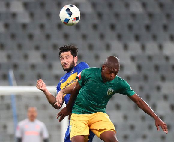 Roland Putsche of Cape Town City battles for the ball with Danny Venter of Golden Arrows during the Absa Premiership 2017/18 football match between Cape Town City FC and Golden Arrows at Cape Town Stadium, Cape Town on 4 April 2018 ©Chris Ricco/BackpagePix