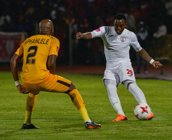 Patrick Phungwayo of Free State Stars and Ramahlwe Mphahlele of Kaizer Chiefs during the Absa Premiership 2017/18 game between Free State Stars and Kaizer Chiefs at Goble Park, Bethlehem on 4 April 2018 © Frikkie Kapp/BackpagePix