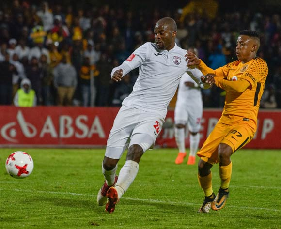 Rooi Mahamutsa of Free State Stars and Hendrick Ekstein of Kaizer Chiefs during the Absa Premiership 2017/18 game between Free State Stars and Kaizer Chiefs at Goble Park, Bethlehem on 4 April 2018 © Frikkie Kapp/BackpagePix