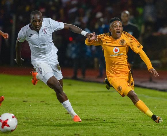Hendrick Ekstein of Kaizer Chiefs and Nyiko Mobbie of Free State Stars during the Absa Premiership 2017/18 game between Free State Stars and Kaizer Chiefs at Goble Park, Bethlehem on 4 April 2018 © Frikkie Kapp/BackpagePix