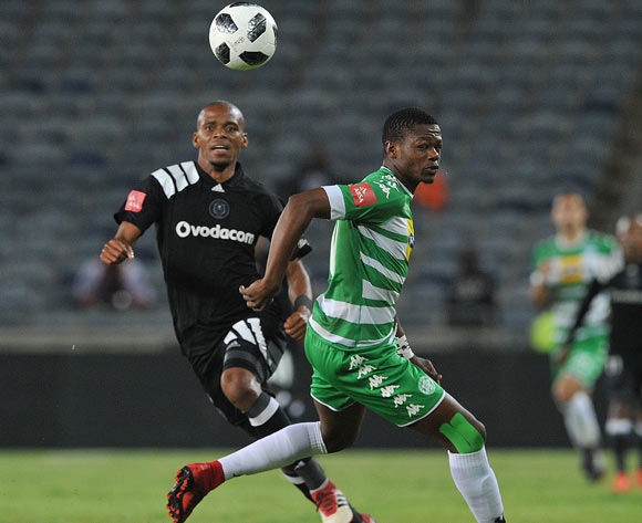 Gladwin Shitolo of Orlando Pirates challenges Ndumiso Mabena of Bloemfontein Celtic during the Absa Premiership match between Orlando Pirates and Bloemfontein Celtic on 04 April  2018 at Orlando Stadium Pic Sydney Mahlangu/BackpagePix