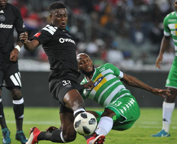 Marshall Munetsi of Orlando Pirates challenges Jacky Motshegwa of Bloemfontein Celtic during the Absa Premiership match between Orlando Pirates and Bloemfontein Celtic on 04 April  2018 at Orlando Stadium Pic Sydney Mahlangu/BackpagePix