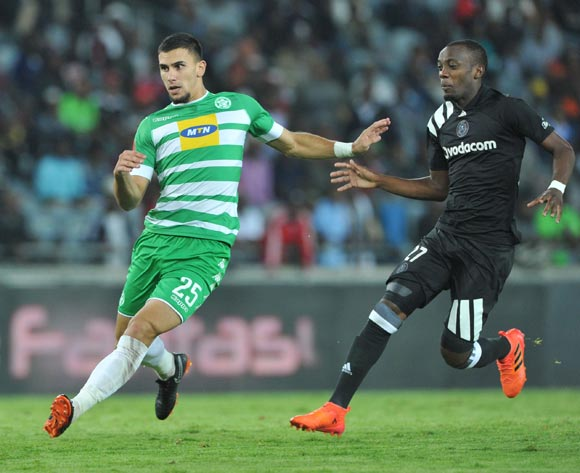 Justine Shonga of Orlando Pirates challenges Lorenzo Gordinho of Bloemfontein Celtic during the Absa Premiership match between Orlando Pirates and Bloemfontein Celtic on 04 April  2018 at Orlando Stadium Pic Sydney Mahlangu/BackpagePix