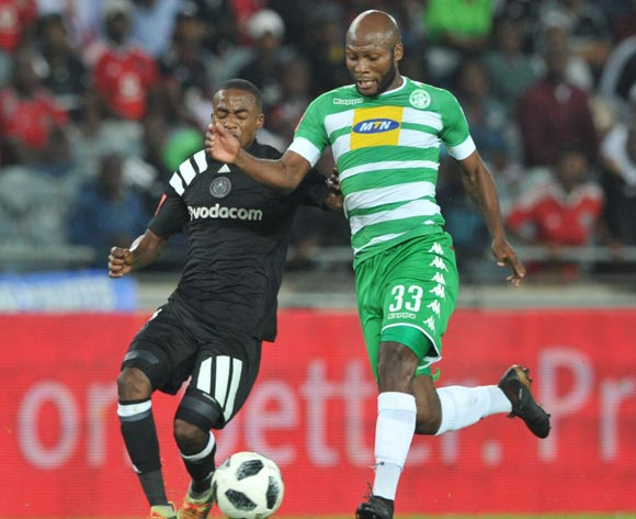 Thembinkosi Lorch of Orlando Pirates challenges Jacky Motshegwa of Bloemfontein Celtic during the Absa Premiership match between Orlando Pirates and Bloemfontein Celtic on 04 April  2018 at Orlando Stadium Pic Sydney Mahlangu/BackpagePix