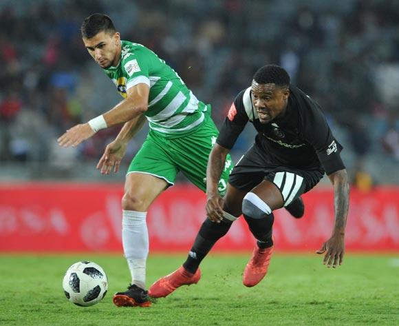 Thamsanqa Gabuza of Orlando Pirates is tackled by Lorenzo Gordinho of Bloemfontein Celtic during the Absa Premiership match between Orlando Pirates and Bloemfontein Celtic on 04 April  2018 at Orlando Stadium Pic Sydney Mahlangu/BackpagePix