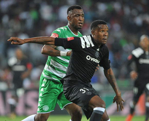Thamsanqa Gabuza of Orlando Pirates is challenged by Alfred Ndengane of Bloemfontein Celtic   during the Absa Premiership match between Orlando Pirates and Bloemfontein Celtic on 04 April  2018 at Orlando Stadium Pic Sydney Mahlangu/BackpagePix
